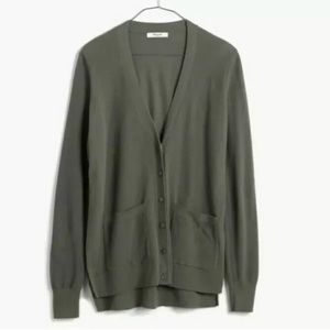 Madewell Spring Weight Olive Green Cardigan